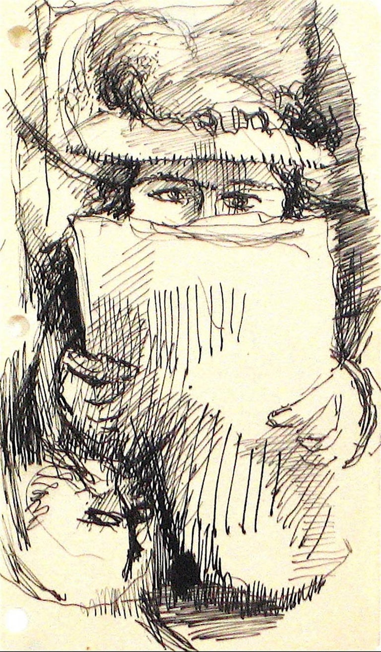 This circa 1940s- 1960s monochromatic ink on paper portrait of a woman reading is by Bronx/New York artist Saul Lishinsky (1922-2012). Lishinsky studied with Hans Hofmann in Provincetown, and attended the Art Students League in New York City.