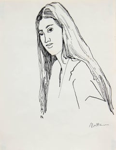 Portrait of a Woman with Long Hair, Ink on Paper, 20th Century