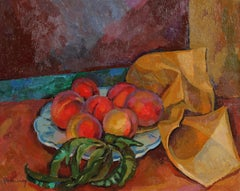 Impressionist Still Life with Peaches, Oil on Canvas Painting, Mid 20th Century