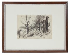 Monochromatic Expressionist Landscape in Ink, Early 20th Century