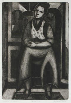 """""""Face in the Mirror"""" Monochromatic Portrait Etching, 1949"""