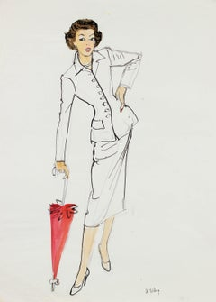 Woman in White Suit, Mid Century Fashion Illustration, Circa 1950