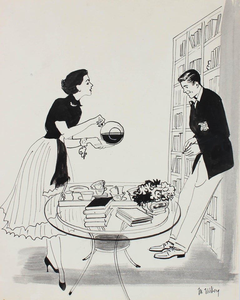 Couple with Coffee, Mid Century Illustration in Ink, Circa 1950