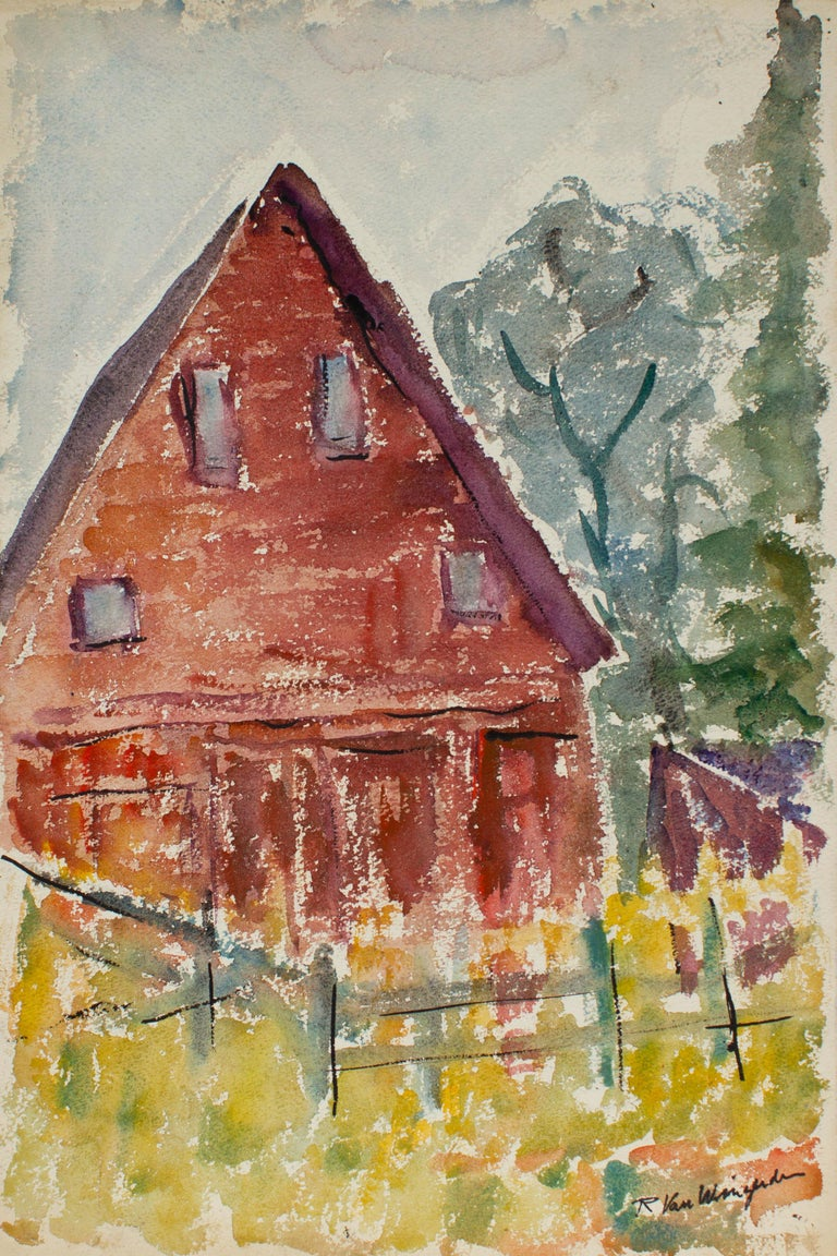 Red House with Picket Fence, Watercolor Landscape Painting, Circa 1950s