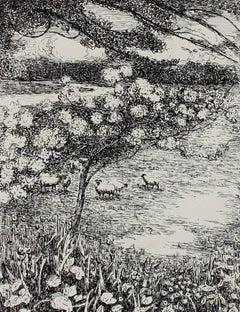 Monochromatic Impressionist Landscape in Ink, 1932