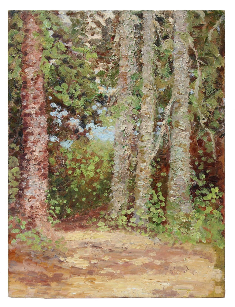 Impressionist Trees in a Landscape, Oil Painting, Circa 1900-1930s