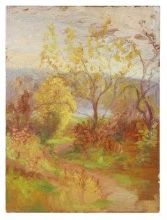 Warm Impressionist Landscape, Oil Painting, Circa 1900-1930s