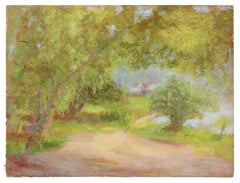 Impressionist Tree-Lined Path Landscape, Oil Painting, Circa 1900-1930s