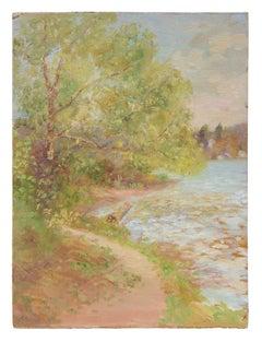 Impressionist Lakeside Landscape, Oil Painting, Circa 1900-1930s