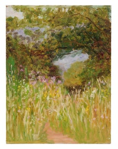 Lush Impressionist Forest Landscape, Oil Painting, Circa 1900-1930s