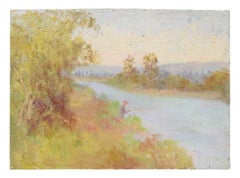 Fishing in a River, Impressionist Landscape, Oil Painting, Circa 1900-1930s