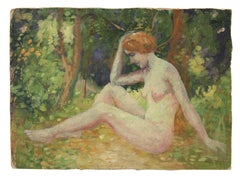 Impressionist Female Figure in a Landscape, Oil Painting, Circa 1900-1930s