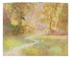 Impressionist Sunset Landscape, Oil Painting, Circa 1900-1930s