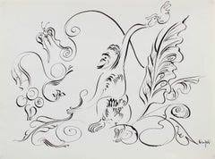 Modernist Monkey Illustration in Ink, Circa 1980s