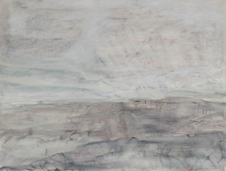 """""""A Gray Day on the Mesa I"""" Monochromatic Oil and Graphite Painting, Circa 1978"""