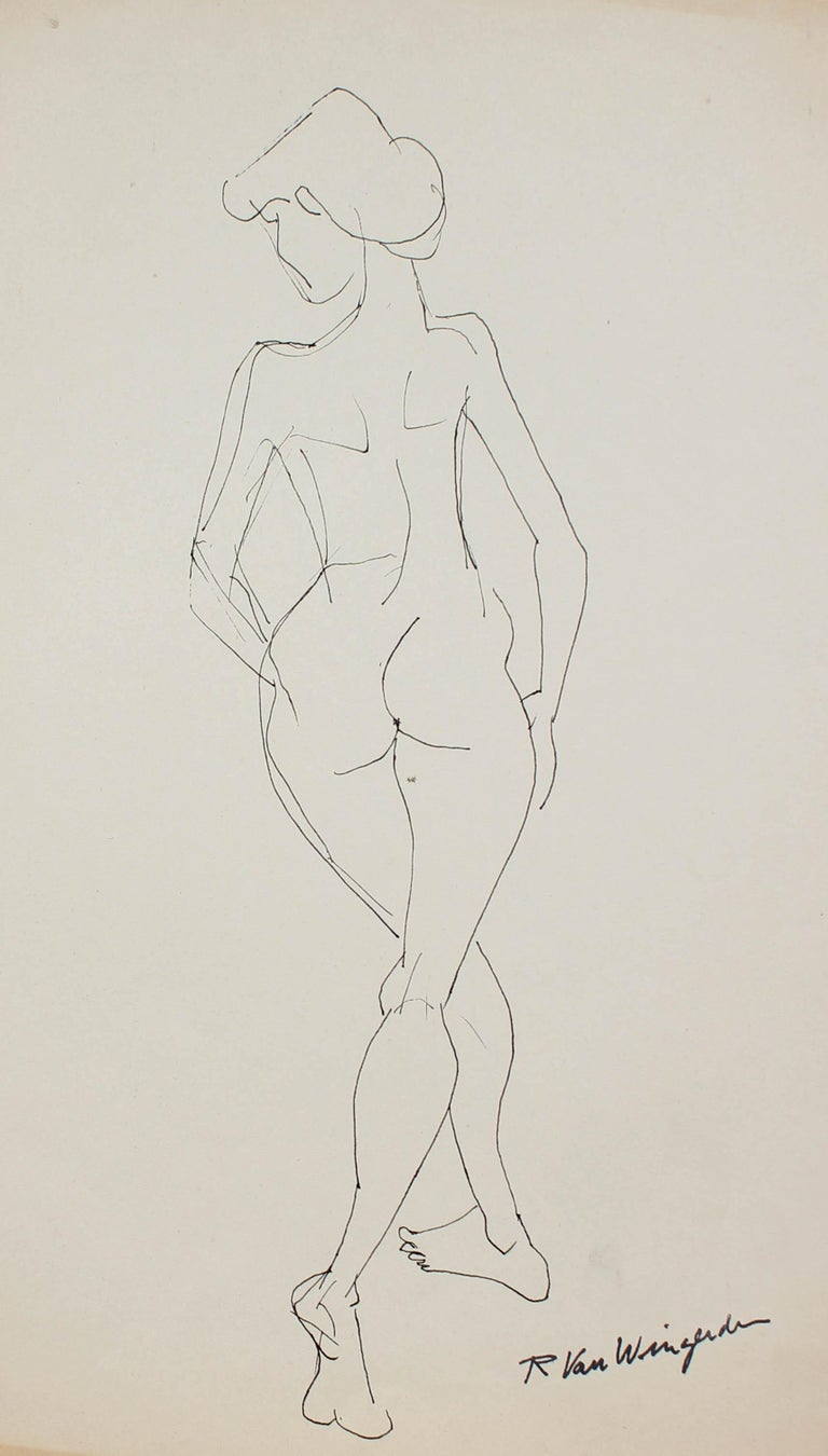 Expressionist Female Figure in Ink, Mid 20th Century