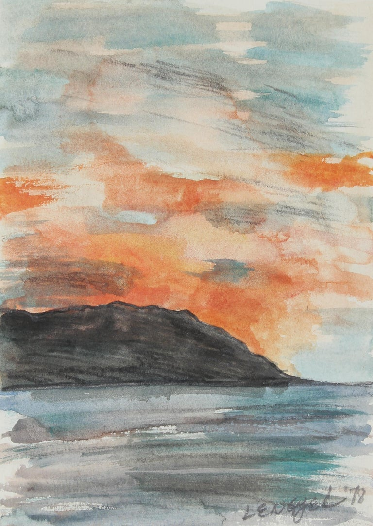 """""""Cabo San Lucas"""" Mexico Sunset Landscape in Watercolor, 1978"""