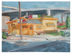 """""""Walt's Diner"""" Bay Area Cityscape Oil Painting, 1989"""