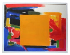 """""""Golden Square"""" Large Abstract Expressionist Oil Painting, 20th Century"""