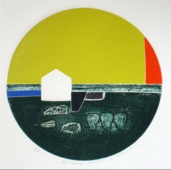 """Summer House"" Circular Abstract Collograph Print, 1976"