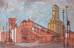 Industrial Landscape, Oil on Masonite Painting, Late 20th Century