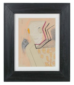 Abstract Surrealist Portrait in Graphite & Oil Pastel, 1990