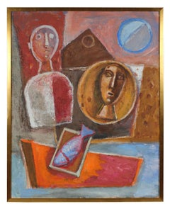 Mid Century Modernist Still Life with Portraits, Oil Painting