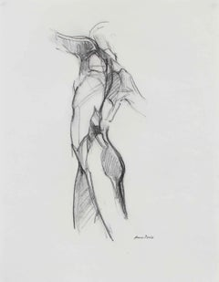 Monochromatic Figure Drawing, Graphite on Paper, Late 20th Century