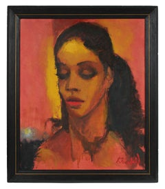 Modernist Portrait of a Woman with Red, Oil on Canvas, Mid 20th Century