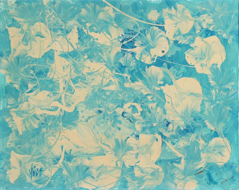 """Petunia Blues"" Abstract Oil Painting in Teal & White, 1960s"