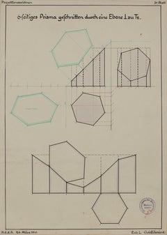 German Engineering Diagram in Watercolor & Ink, 1941