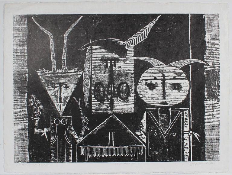 """""""Pueblo Ceremonial Trio"""" Black & White Woodblock Print, Circa 1968"""