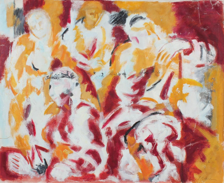 Abstracted Figures, Oil on Canvas Painting, Mid 20th Century