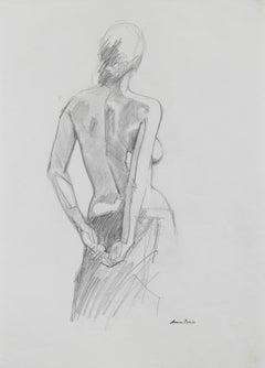Nude Female Torso, Graphite on Paper, Late 20th Century