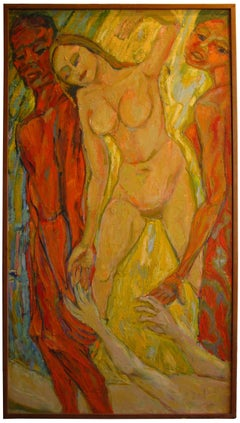 Expressionist Figurative Oil Painting, Mid 20th Century