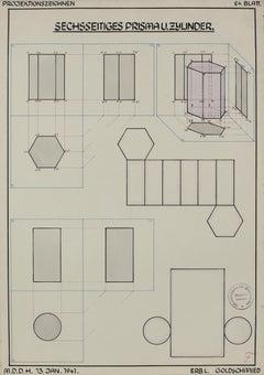 Geometric German Engineering Diagram in Watercolor & Ink, 1941