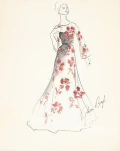 Floral Dress Fashion Illustration, Ink & Gouache Painting, 1950s
