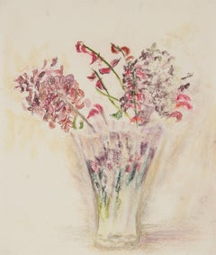 """""""Flowers in a Clear Vase"""" Pastel Still Life, 1960s"""