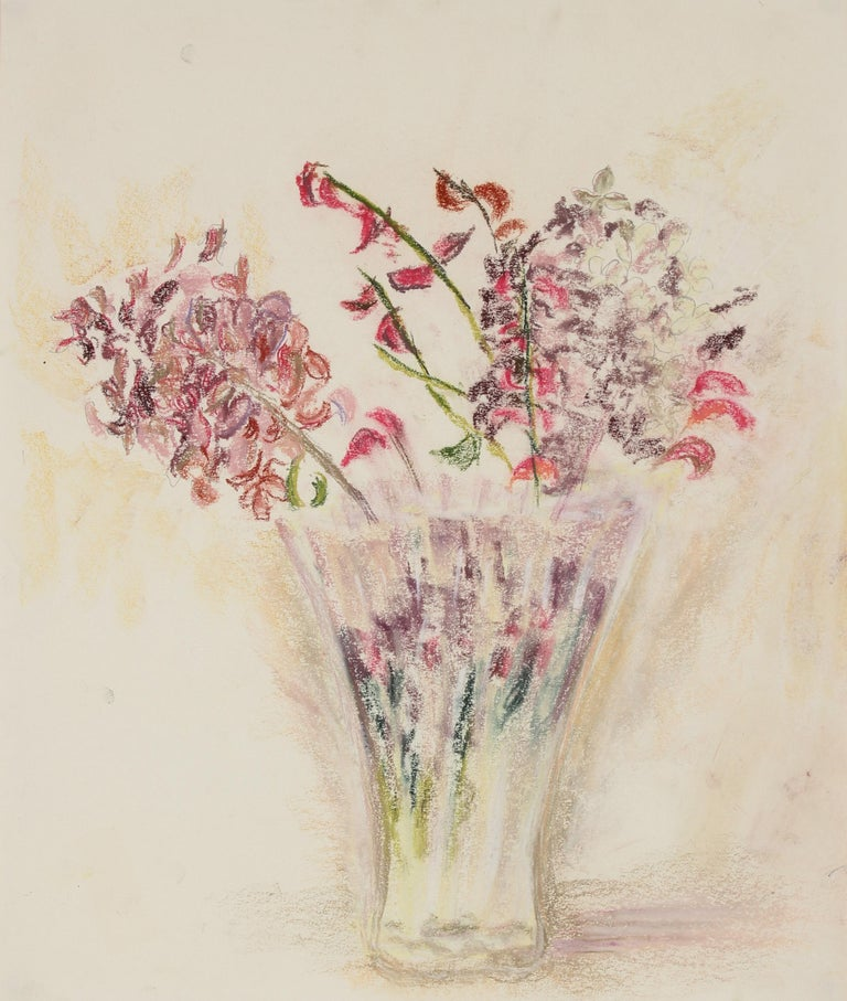 Anne Granick Red Flowers In A Vase Watercolor Still Life Circa