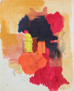 Abstract in Red and Orange, Gouache Painting, 20th Century