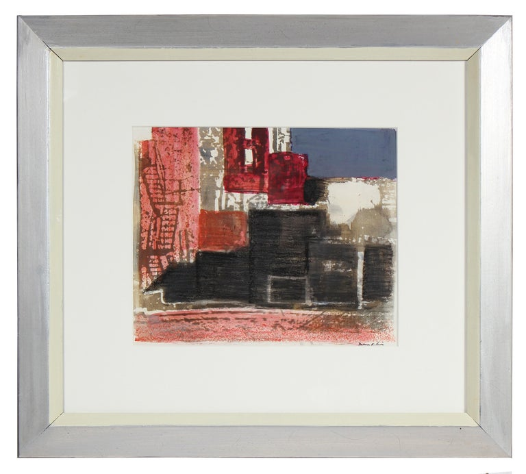 Mixed Media Cityscape Abstract Lithograph, 1971