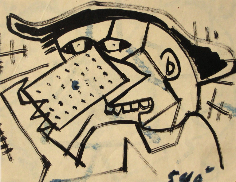 Abstracted Modernist Portrait Drawing in Ink, Circa 1960s