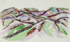 Mountain Landscape in Green & Purple, Watercolor Painting, 1977