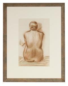 X - Female Nude Portrait in Pastel, Mid 20th Century