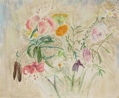 """Loose Flowers"" Still Life in Pastel, Circa 1960s"