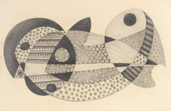Detailed Surrealist Abstract in Graphite, 1970s