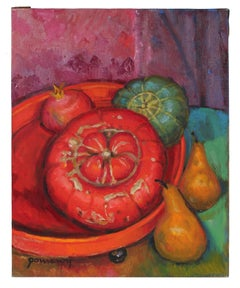 Still Life with Squash & Pear, Oil Painting, Late 20th Century