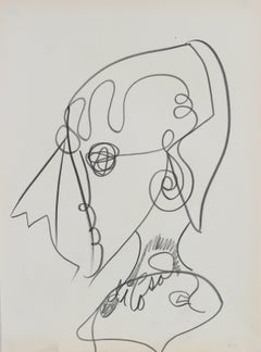 Abstracted Psychedelic Portrait in Graphite, Late 20th Century