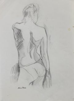 Female Nude, Graphite on Paper Figure Drawing, Late 20th Century