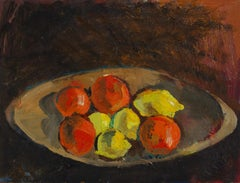 Modernist Fruit Still Life Oil Painting, Late 1950s